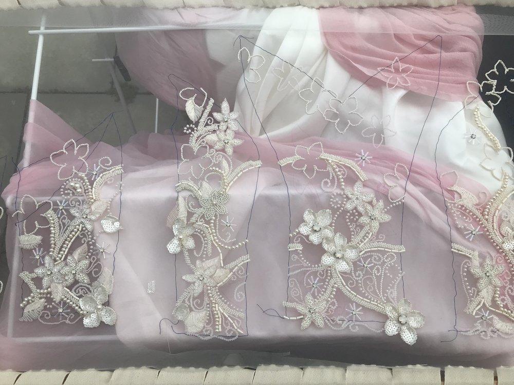 pink wedding dress beading