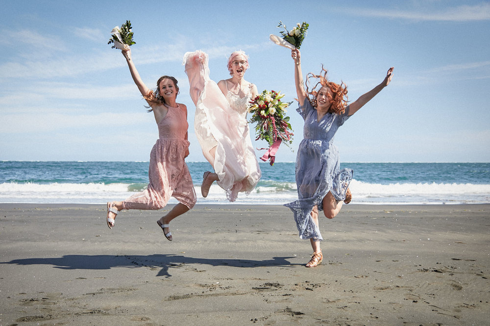 wedding dress jump photo
