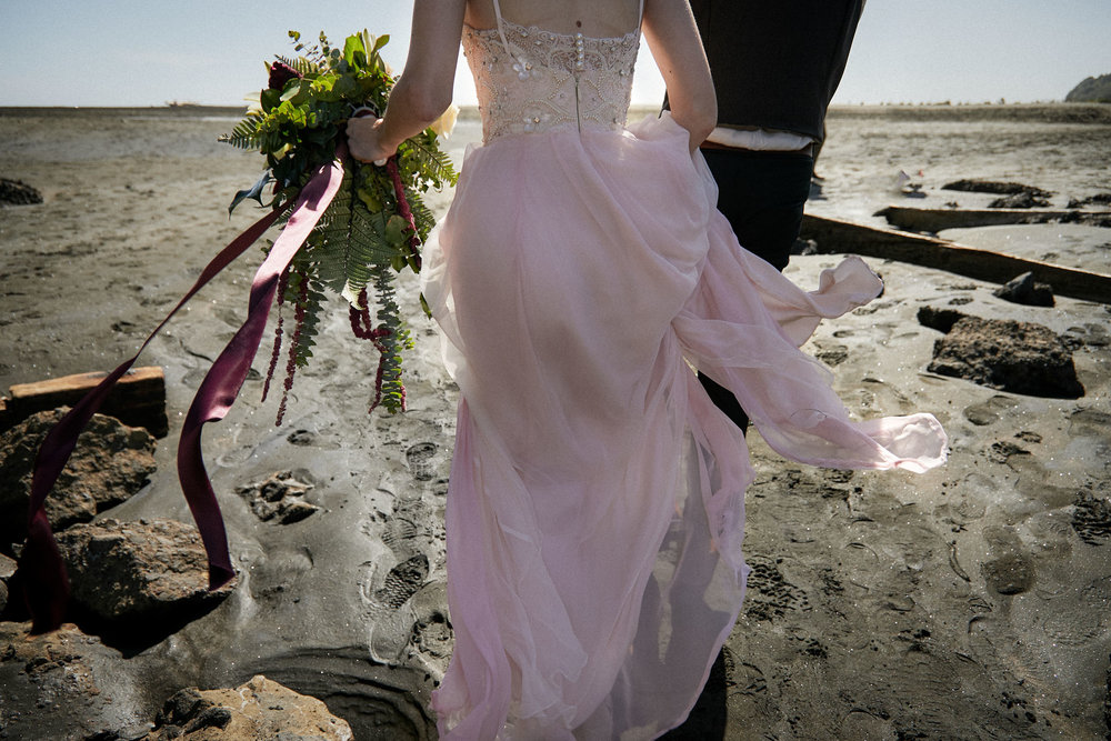 back of handmade wedding dress