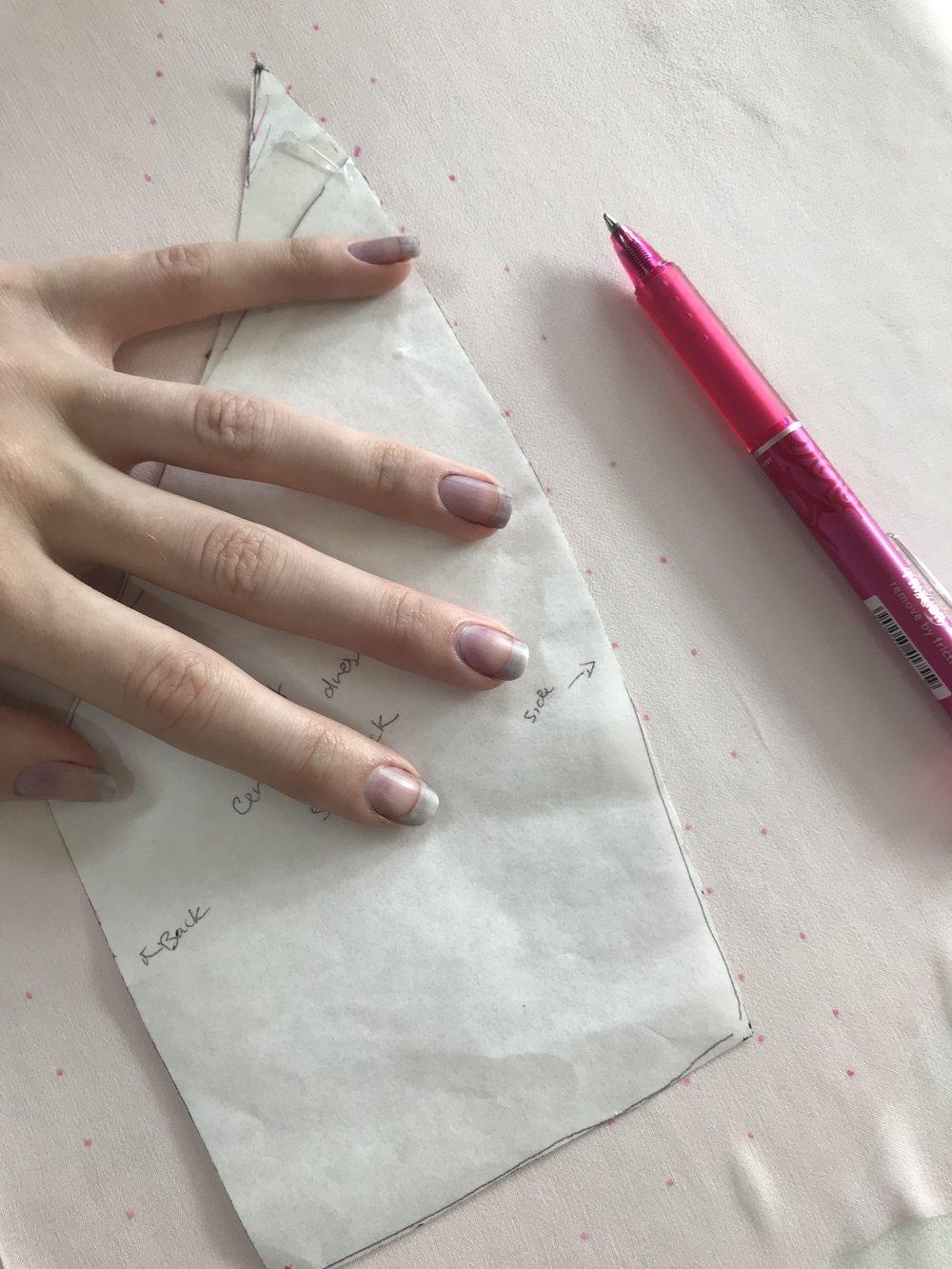 marking the bodice pattern on silk