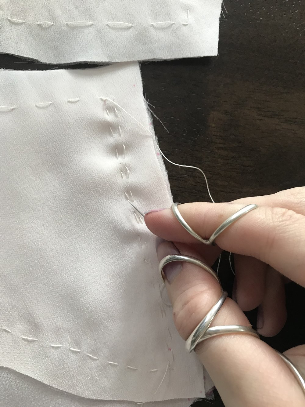 hand sewing wedding dress bodice