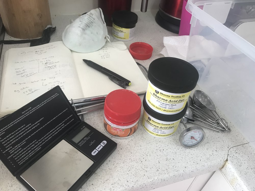 tools for dyeing silk