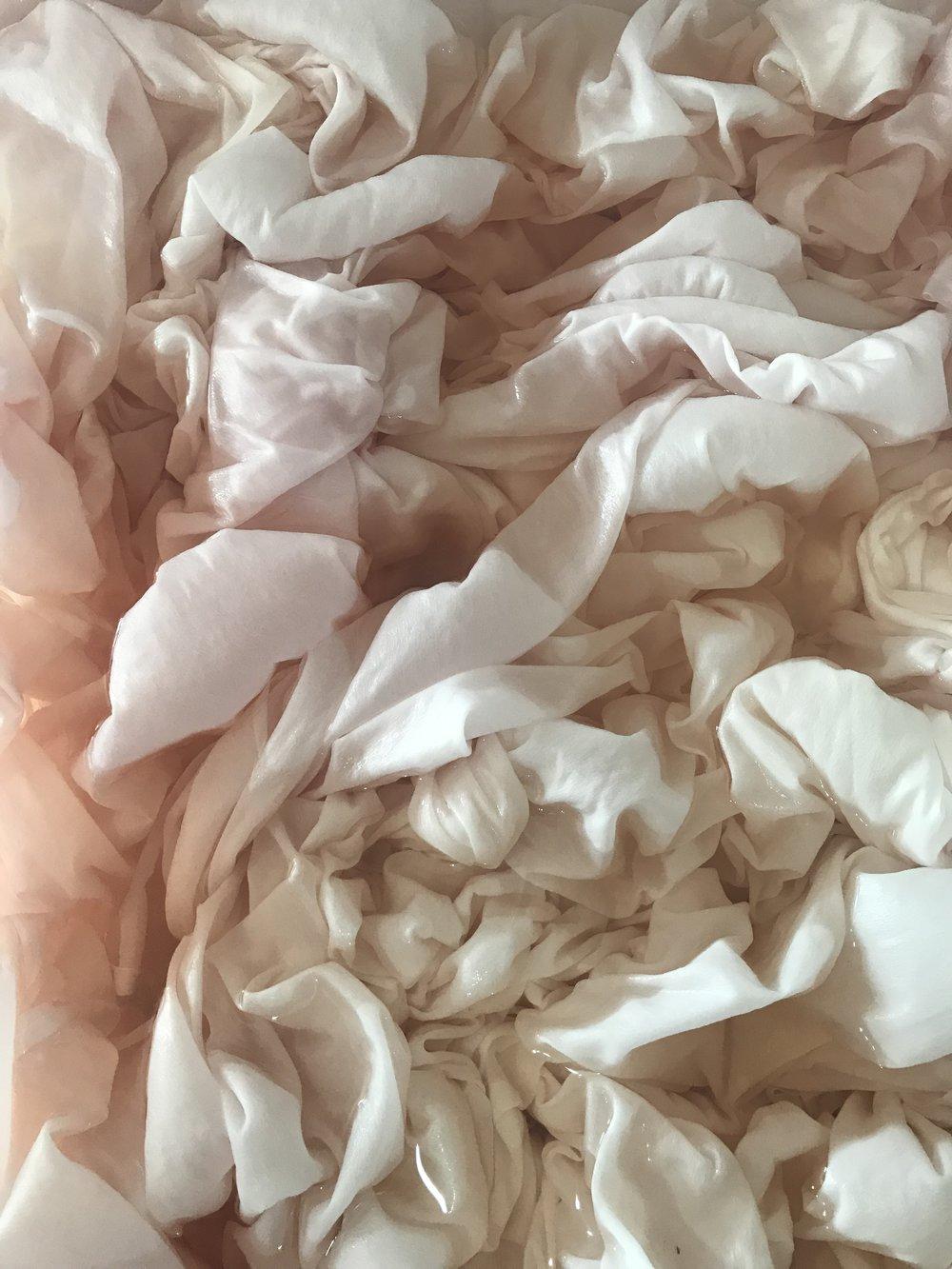 the silk satin, in the dye bath