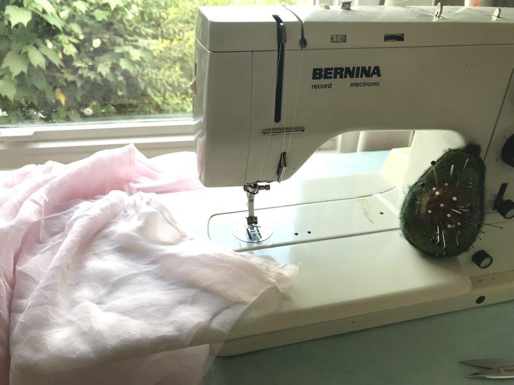 sewing wedding dress bernina 830