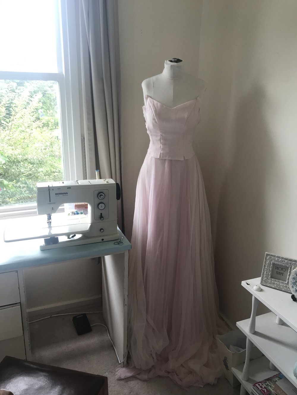 wedding dress skirt and bodice progress