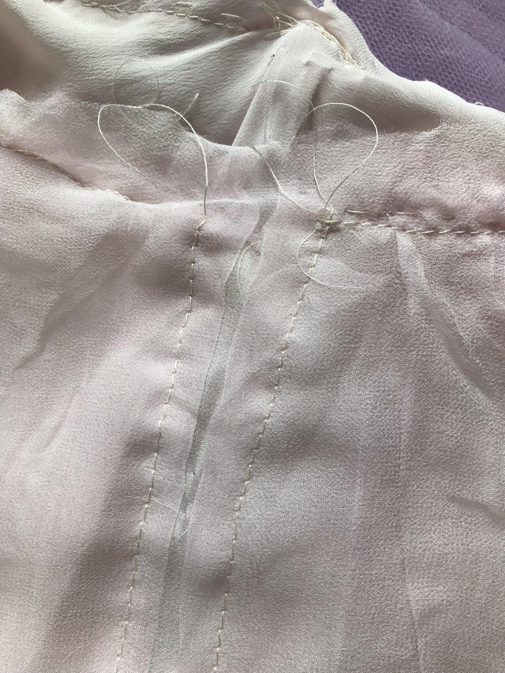basting wedding dress for zipper