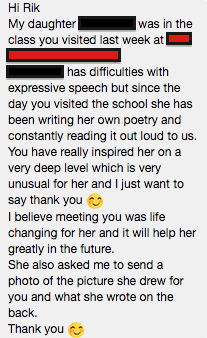 Facebook message from a parent of a Yr 3 student after an hour school workshop.