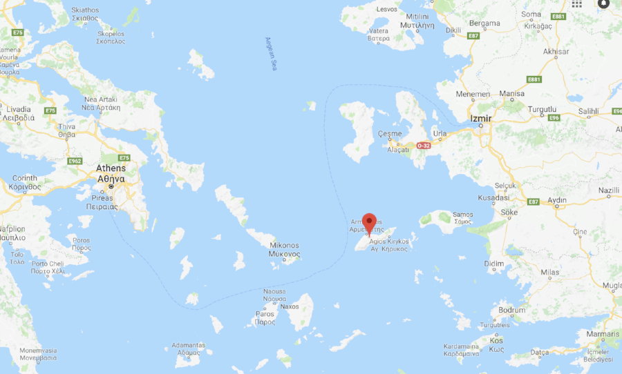 map of ikaria greece aegean sea