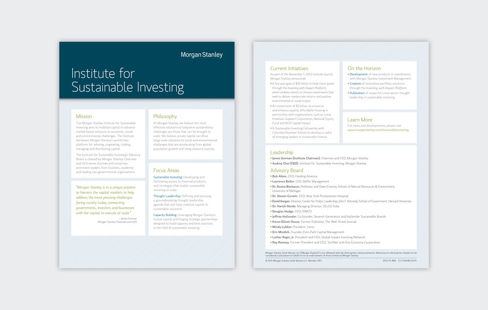 Institute for Sustainable Investing Newsletter  Morgan Stanley, 2009 to Present, New York, NY