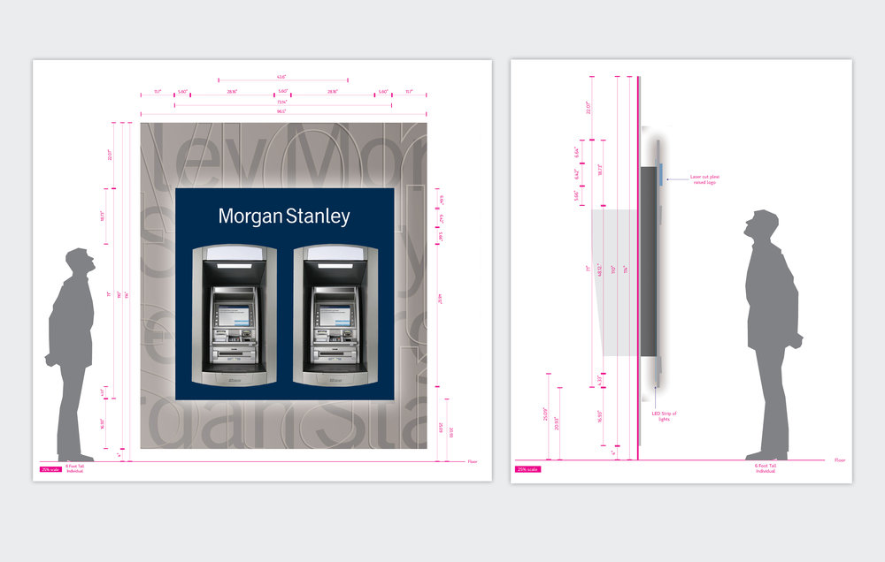 Series of ATM Kiosk Installation Renderings  Morgan Stanley, 2009 to Present, New York, NY  Worked with material and ATM vendors to create specs and Illustrator renderings of Morgan Stanley ATMs.