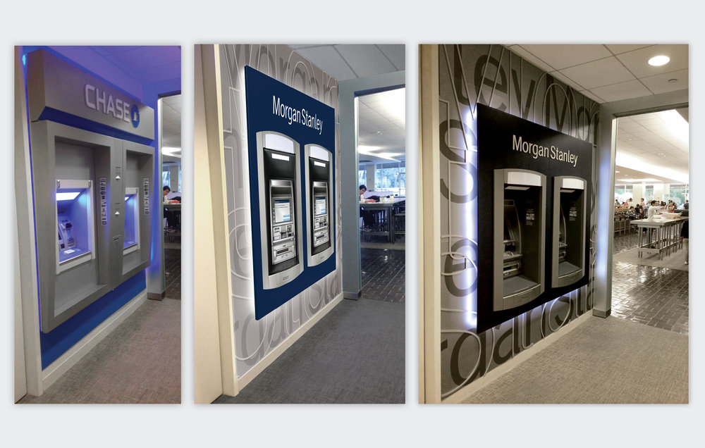 Series of ATM Kiosk Installation Renderings for three New York Locations  Morgan Stanley, 2009 to Present, New York, NY  Previous Chase ATMs at left, Photoshop rendering of Morgan Stanley Westchester ATMs center, Final ATM Installation at right.