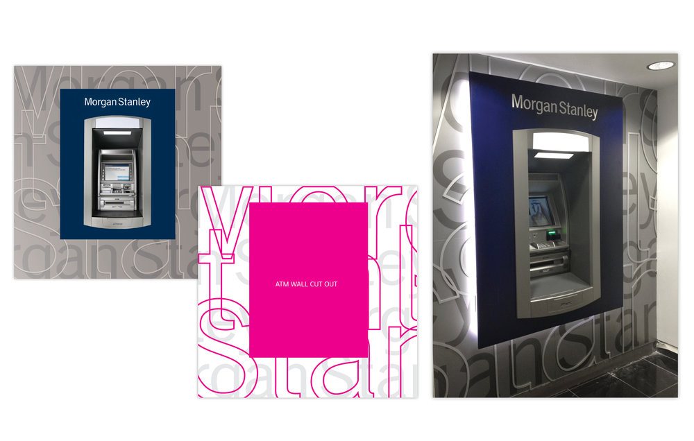 Layered Mechanical and Illustrator Die for Series of ATM Kiosks  Morgan Stanley, 2009 to Present, New York, NY  Worked with material and ATM vendors to create specs and Illustrator renderings of Morgan Stanley ATMs. Image of installed ATM at right.