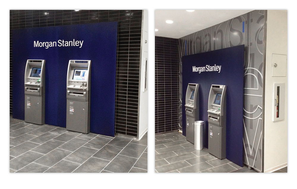 Series of ATM Kiosk Installation Renderings  Morgan Stanley, 2009 to Present, New York, NY  1585 Location before wall installation at left, completed back wall installation at right.