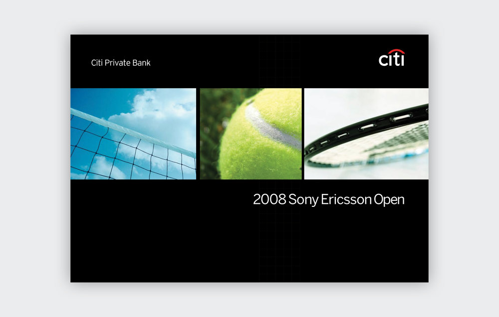 Sony Ericsson Open Printed Invitation  Citi Smith Barney, 2007 to 2009, New York, NY  Before the Morgan Stanley/Smith Barney joint venture, I worked for Citi Smith Barney designing various invites and newsletters.