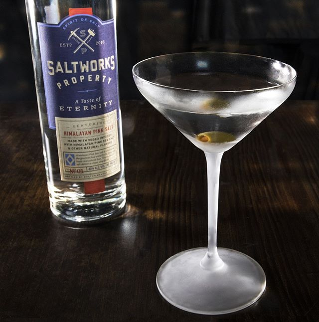 Shake it. Strain it. Serve it. #SaltworksProperty . . Clear Dirty Martini 1-¼ Parts Saltworks Property Himalayan Pink Salt Vodka  ½ Part Dry Vermouth Shake and strain. Garnish with 3 olives.  Variation: Add a few drops of @Bittermens Scarborough Herbal Bitters.  #SaltworksVodka #Saltworks #CocktailRecipe