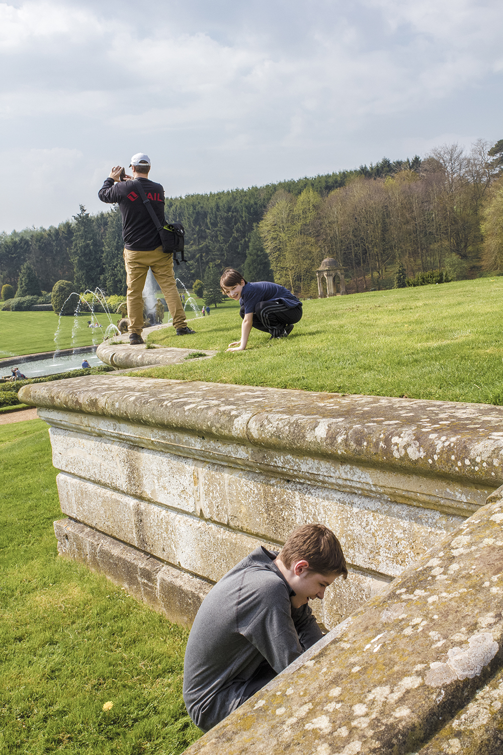 Harrison and Matthew duck as Stephen does panoramic photo Witley Court and Gardens April 21 2018.jpg