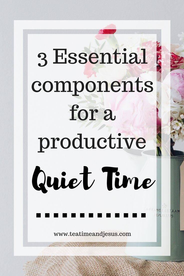 Do you find it difficult to have a consistent unhurried time with the Lord each day?  In this post I list out 3 essential components that are necessary for a productive quiet time with the Lord. Read on to find out more.