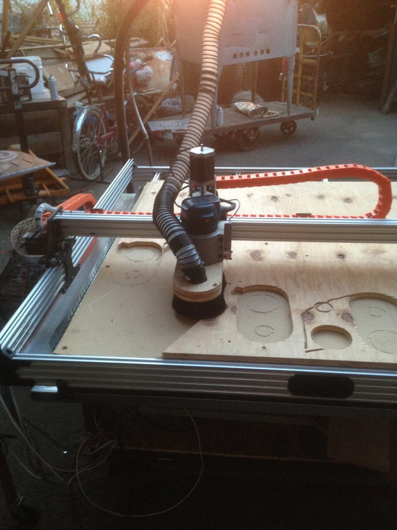 """CNC ROUTING   Versatile and fast, our custom OpenBuilds CNC router is mounted to a 4x4 table and ready to chew through up to 3/4"""" plywood.     $65/hr + $50 setup"""