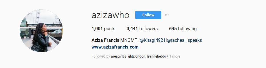 Screenshot aziza francis azizawho