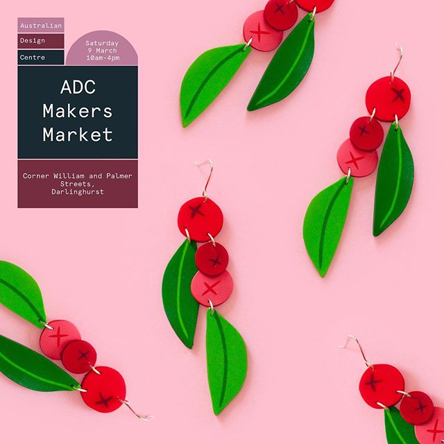 Delighted to announce I'll be taking part in the wonderful @australiandesigncentre Makers Market next Saturday 9th March. ⠀ ⠀ This boutique Makers Market will feature over 27 local Sydney makers as part of the @sydneydesignfestival 🎨 Psst! I'll have a handful of these best-selling Lilly Pilly drops along with many other crowd favourites for those who've missed out online 🤗 I might even have a few sneaky new designs 😉⠀ ⠀ Where: Australian Design Centre, Darlinghurst⠀ When: 10am - 4pm