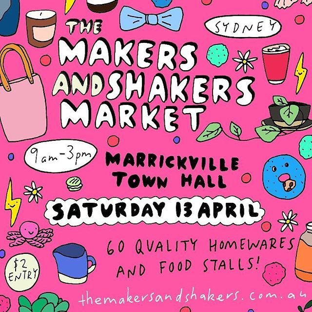 👋 SYDNEY! The incredible @themakersandshakers market is coming up this Saturday, 13th April at the Marrickville Town Hall.  I'll have HEAPS of Australiana magic to make your day including a bunch of new designs (did someone say statement budgies and fairy bread studs?) and some golden oldies.  This market always features an amazing range of local designers, makers and foodies and is guaranteed to be bustling. So if you're after something specific, come early so as not to miss out!  Some of my favourite designers will be there with me, so pop it in your diary and make sure you visit @eggpicnic for unique and beautiful bird prints, @shiztastic for bold, colourful headscarves and scrunchies, @outer.island for the sweetest hand painted souvenirs, @antipastel for the best prawn and pavlova earrings you'll ever find and the lovely @sweetpeaandhoneybee for a beautiful bunch of botanicals 🌸  When: 9am - 3pm, Saturday 13 April Where: Marrickville Town Hall