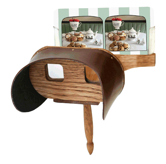 interactive menu experience: at each table, there will be one stereoscope viewer + a set of menu cards. when a viewer looks through the stereoscope, the images on the card will look 3-d
