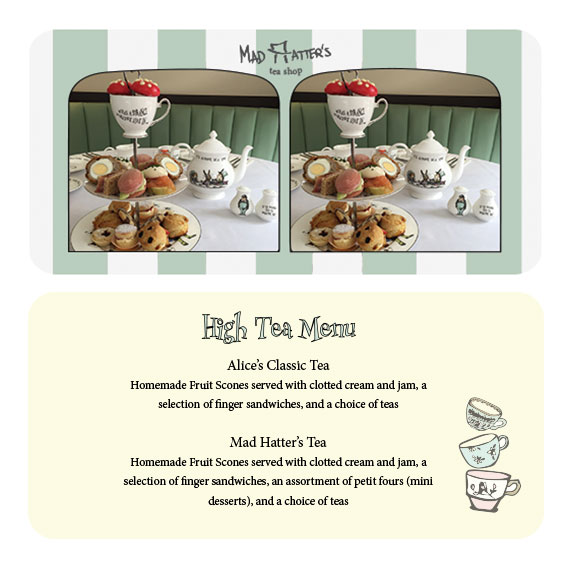 front & back of high tea menu - stereoscope card