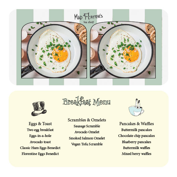 front & back of breakfast menu - stereoscope card