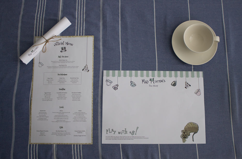 table setting with simple scroll menu + interactive placemat