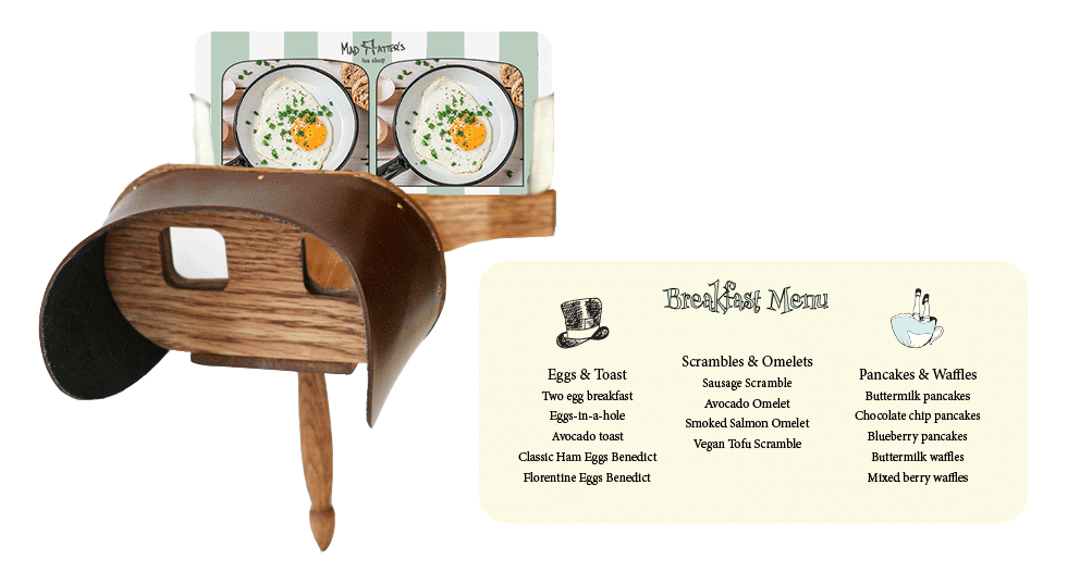 breakfast menu stereoscope card. Left: front of card. right: back of card