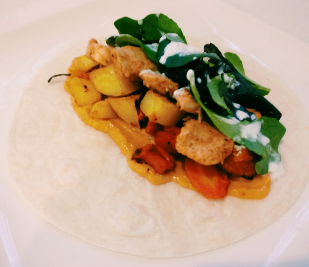Chicken Wraps  -  IngredientsBurrito wraps x6Left over roast vegetables (potato, carrot, pumpkin)Hummus dip1-2 Chicken breastsFarrahs fajita seasoningLettuceAioiliMethod1. Slice chicken breast into small strips and coat with the fajita seasoning - enough to suit your taste2. Cook the chicken in a fry pan in a little bit of oil3. Warm the Burrito wraps in the microwave 4. Spread 1tsp of  the Hummus dip on  the Burrito5. Top with the warmed leftover vegetables6. Top the vegetables with  the cooked chicken7. Top with lettuce leaves and Aioili
