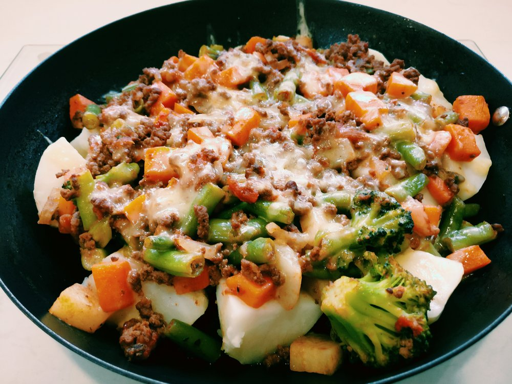 Loaded Potatoes - Ingredients300g Beef Mince½ Onion Diced½ Can Diced Tomatoes1T Soy Sauce (optional)2t Brown Sugar (optional)2C Mixed Vegetables3 Large PotatoesGrated CheeseMethod1. Chop the potatoes into chunks and boil in a saucepan of water until cooked2. Boil the mixed veges in a saucepan of water until cooked3. In a large frying pan, brown the onion and mince4. Add the diced tomatoes, soy sauce and brown sugar to the frying pan, add some water if the sauce is too thick5. Simmer the mince mixture for 5-10 minutes until the sauce is at the desired consistency6. Drain the potatoes and pour them into an oven proof dish7. Add the cooked veges to the potatoes8. Cover the potatoes and veges with the mince mixture and top with grated cheese9. Bake in the oven until the cheese is golden