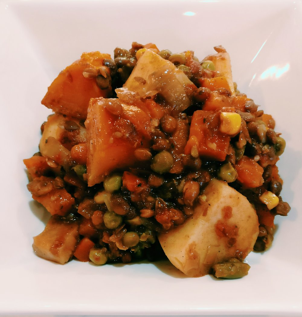 Lentil Casserole - Ingredients1 Can Lentils½ Onion Diced½ Can Diced Tomatoes1 Packet Beef Bourginon Mix1/4C Water2C Mixed Vegetables3 Large Potatoes - DicedPiece of Pumpkin - DicedMethod1. Add all ingredients to a slow cooker and cook for 6-8 hours on low or 4-6 hours on high.