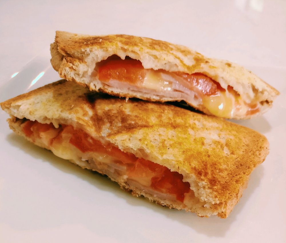 Lunch - Toasted Sandwiches with Cheese, Tomato & Ham