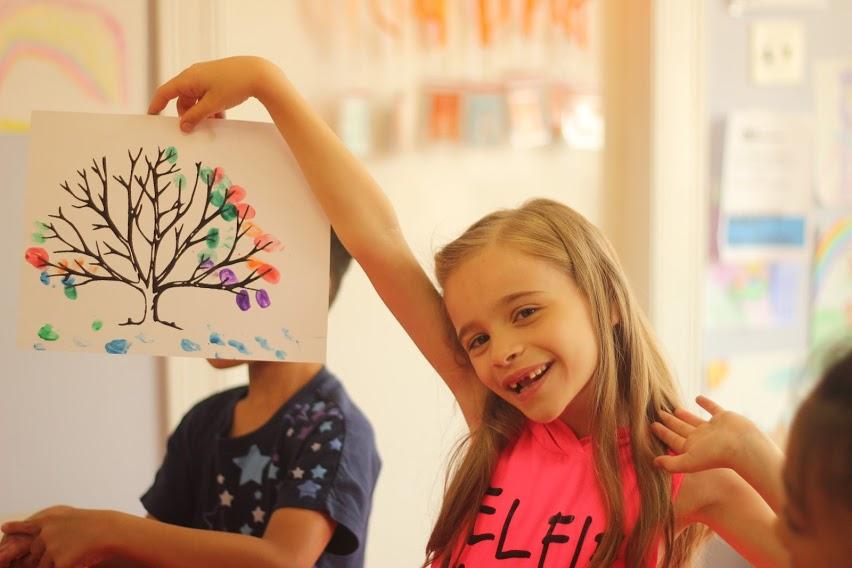 Finger painting trees, Summer Camp Art Class, DG Rocker's Guitar & Music School