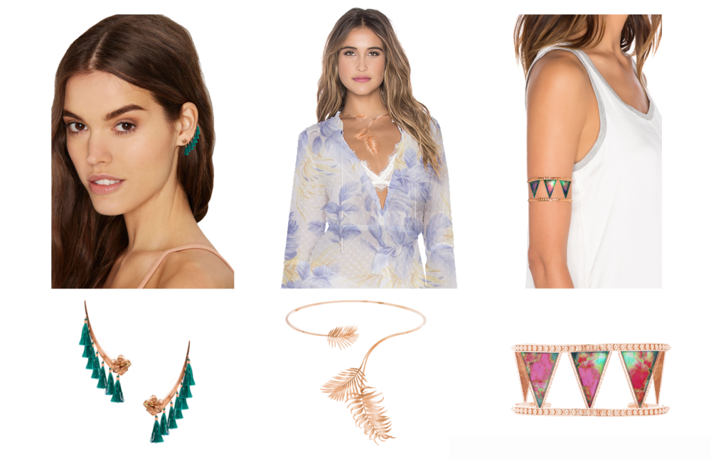 Jewelry Design - For my interview project, I created two color stories and three jewelry pieces using photoshop and illustrator and placed them on images of models.