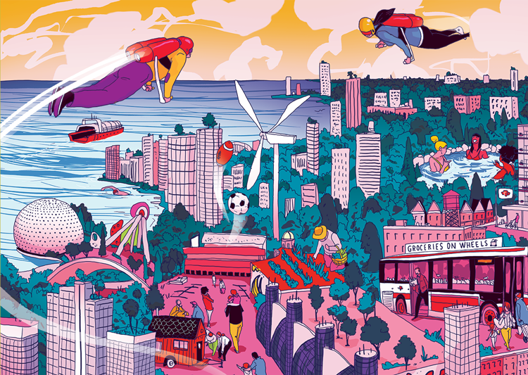 Toronto of the future illustration