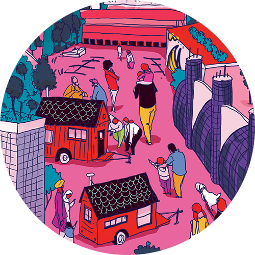 Illustration of people checking out tiny homes at Exhibition Place