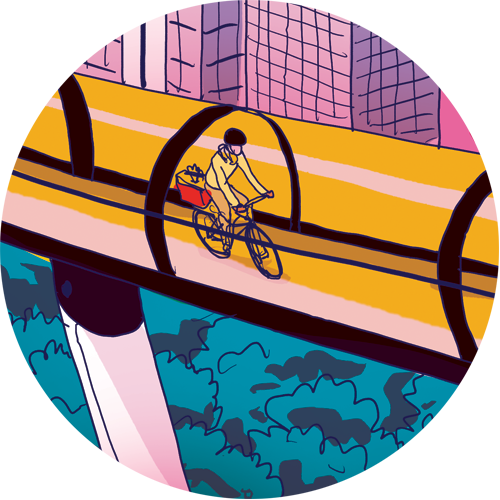 Illustration of a woman cycling through an elevated tube