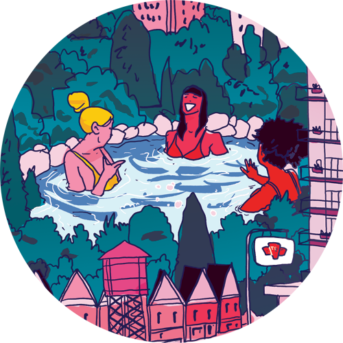 Illustration of three women chatting in a hot tub in High Park