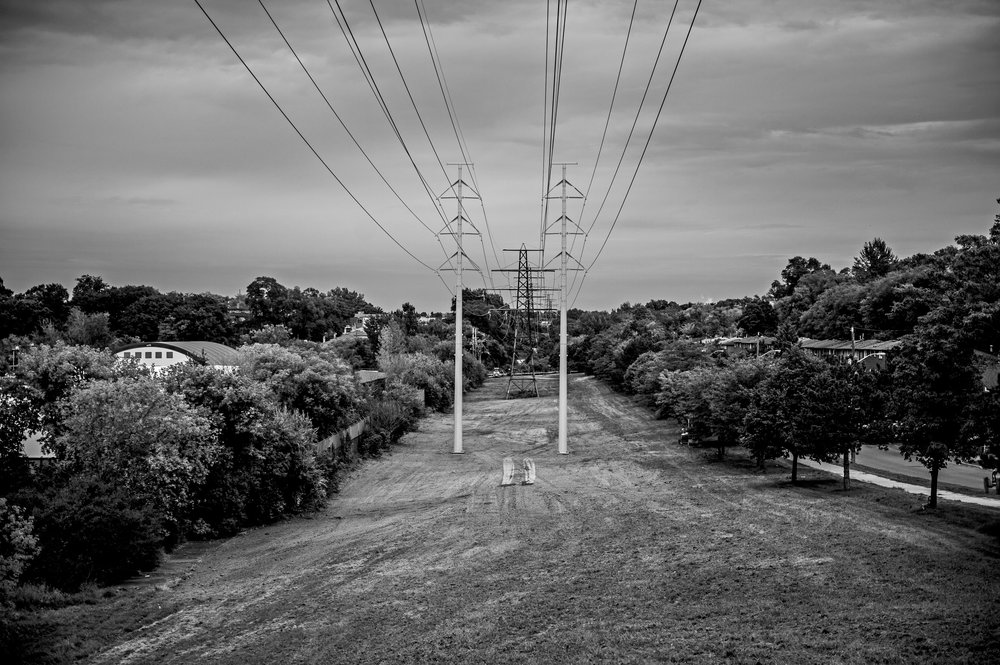 Hydro towers running through strip of green space in Rockcliffe-Smythe neighbourhood