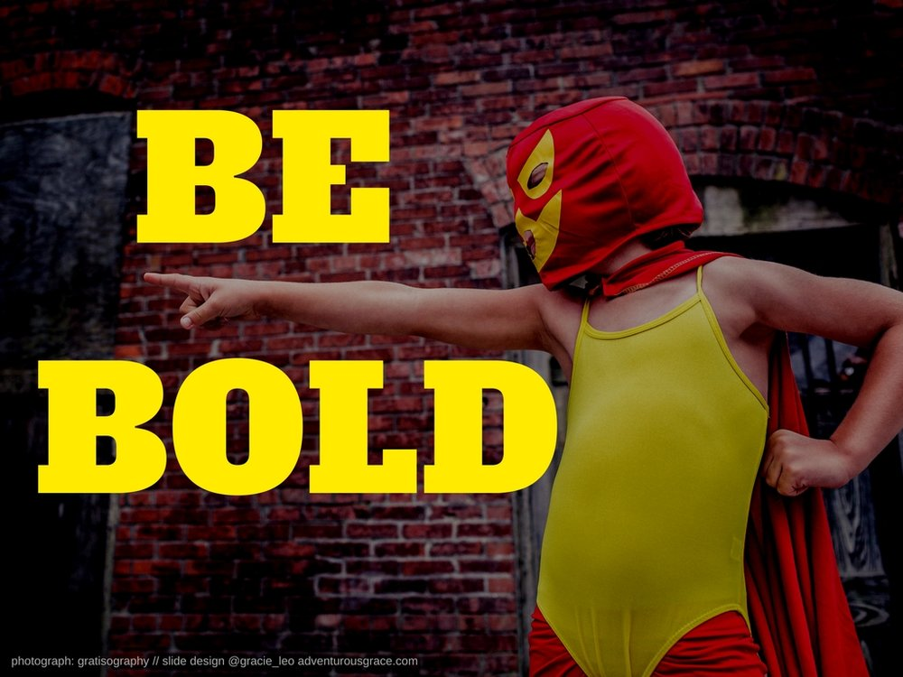 "Be Bold v2 : In this improved example, I've gone bigger and bolder with the text and image. I've also used the direction of the child looking to help integrate the text and picture together better. By 'being bold' with image and text - you are helping create for your audience a ""wide screen"" feel to your presentation."