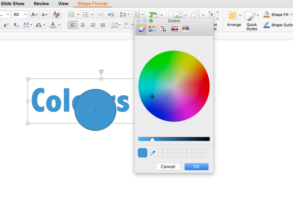 - The colour wheel will come up. You can hit the ink dropper symbol in the bottom left of the colour box and then hover over any colour on your screen (note even outside of powerpoint) to pick out what colour it is.