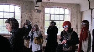 Audience at Time & Vision at the Barge House in London, 2012, viewing Ocularanagluphos,