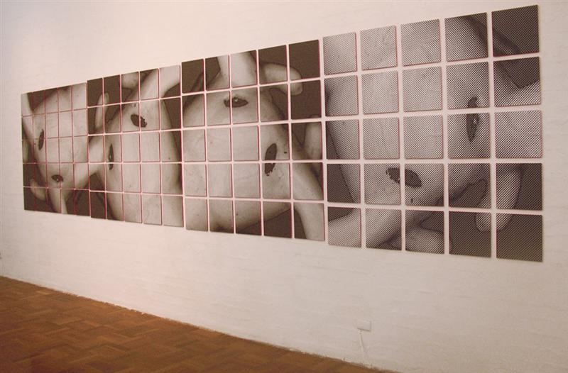 Erica Seccombe,  Momentum , 2004, (Surface for Air) photocopy on 100 panels (30x30cm) backed with fluorescent paint, installed in the exhibition,  2x4 , ANU School of Art Gallery, 29 April - 1 May 2004
