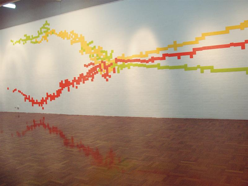 Erica Seccombe, Atomic, 2004, dimensions variable, industrial printed colour cards (110 mm2) installation dimension variable. Installed in 2 x4 , ANU School of Art Gallery, 29 April - 1 May 2004