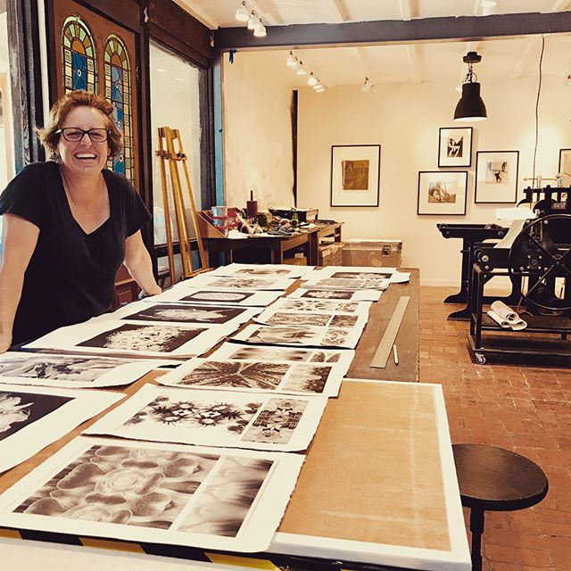 Erica at Baldessin Press with work in progress, 2018. Photo Silvi Glattauer