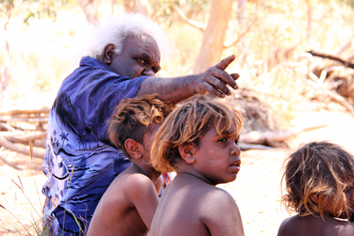 Mr David Miller teaching tjitji (children) at Kalka community, APY Lands.
