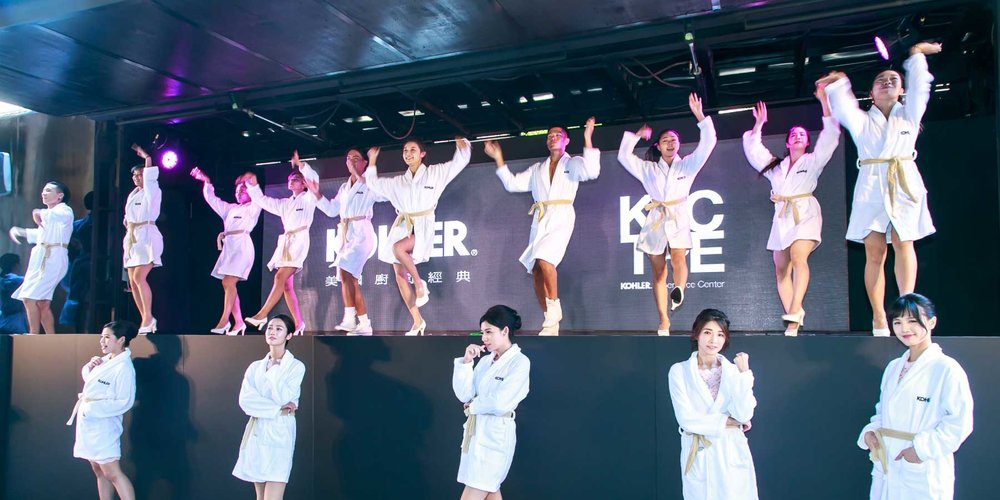 Beautiful models celebrate the Grand Opening of KECTPE  —  the first KOHLER Experience Center in Asia.