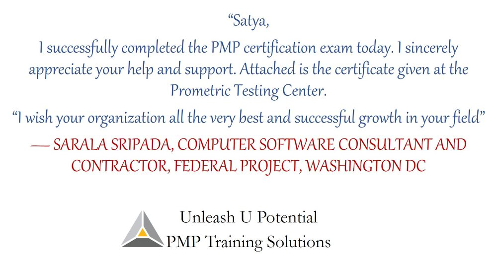 """Testimonial by """"The First Student"""" of PMP Training Solutions"""